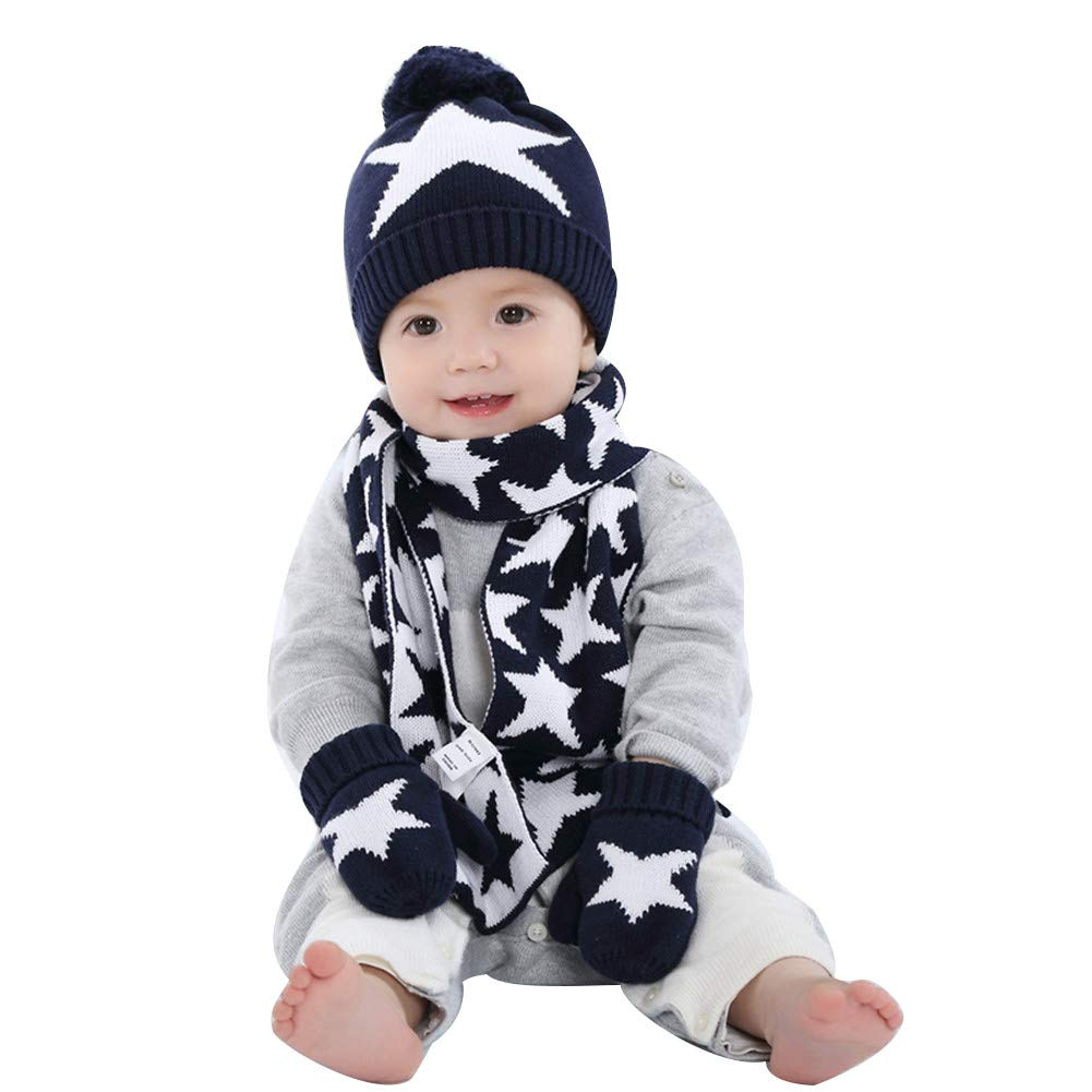 DoMii Baby Boy Girl Toddler Winter Knit Beanie Warm Hat Scarf and Mittens Set