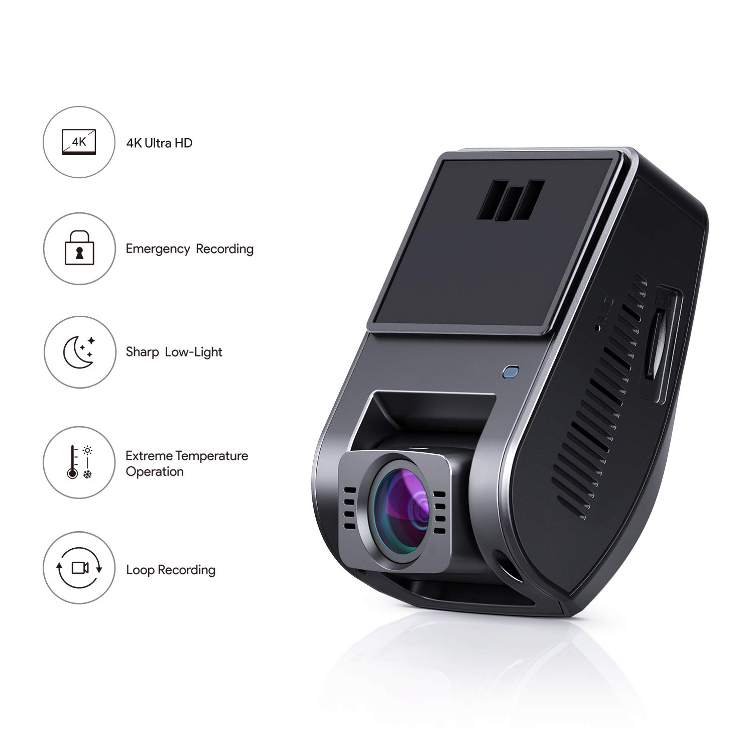 HDR Night Vision Loop Recording and Dual-Port Car Charger Dashboard Camera with G-Sensor AUKEY Car Camera 4K Dash Cam 6-Lane Wide-Angle Lens