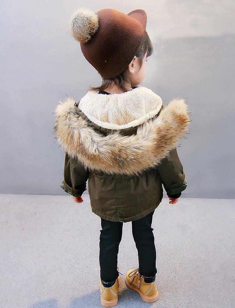 Little Boys and Girls Winter Hooded Fleece Lined Green Parka Jacket Coat