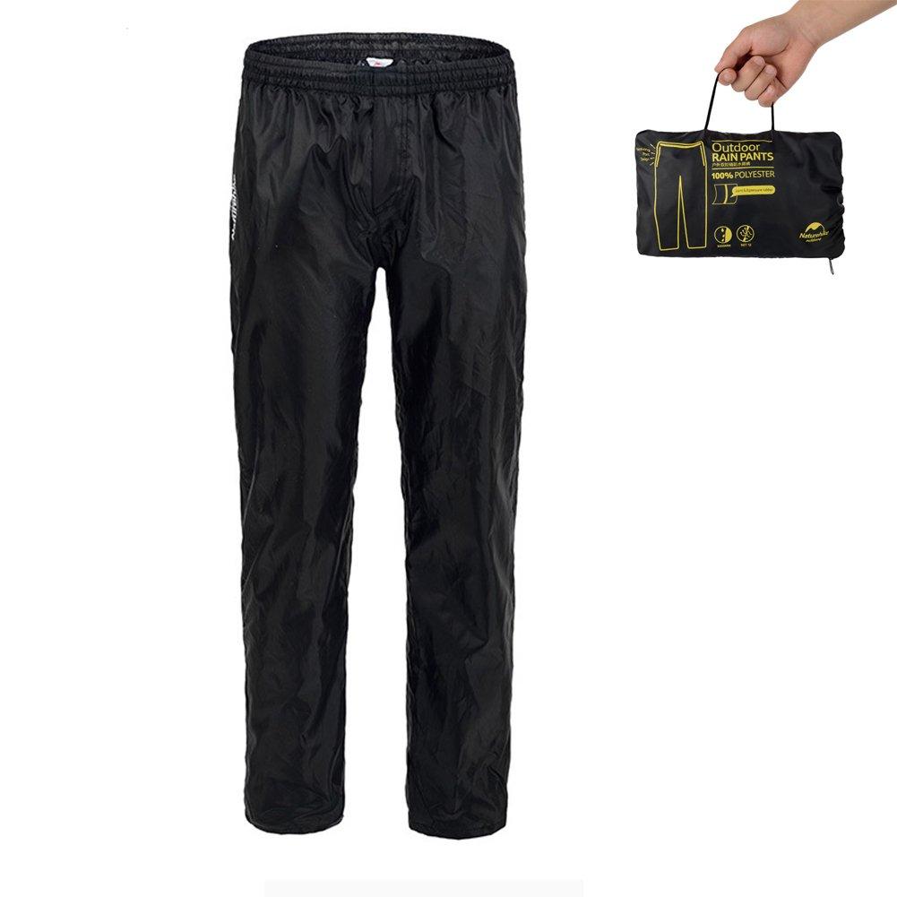 Tentock Unisex Outdoor Cycling Mountainneering Waterproof Pants Double Zippers Rain Pants Black