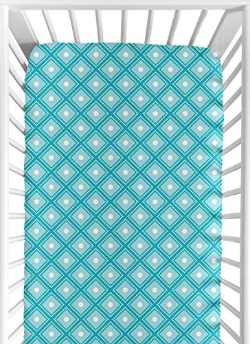 Sweet Jojo Designs Fitted Crib Sheet for Mod Elephant Baby/Toddler Bedding Set Collection - Diamond Print ()