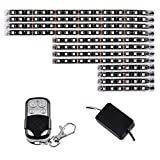 Astra Depot 12pcs Motorcycle LED Light Kit Multi-Color Flexible Strips with Remote Controller for Car SUV Truck Bike ATV Interior Exterior