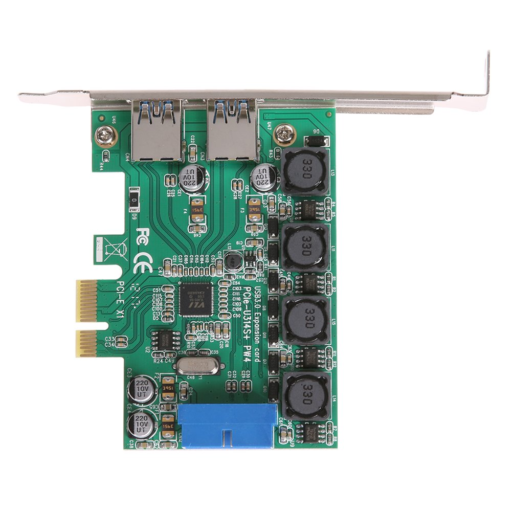 WinnerEco U3V04S PW4 Green Front 19PIN PCIE Transfer USB3.0 Interface Adapter Card
