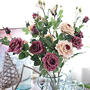 XGM GOU 3 Heads/Bouquet Silk Tea Rose High Qualit Artificial Flower Wedding Flower Bouquet Decorative for Home Room Decoration 83