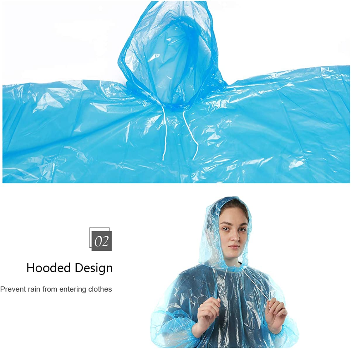 Disposable Rain Ponchos for Adults Emergency Raincoat Oversize Blue with Elastic Cuffs for outdoor Waterproof Extra Thick PE