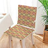 Mikihome 2 Piece Set Cushion Ethnic Aztec Patterns South Mexican Traditial Folk Includes Seat and Backrest Mat:W17 x H17/Backrest:W17 x H36
