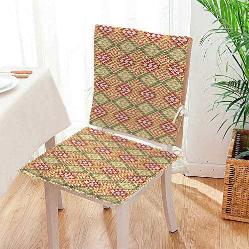 Mikihome 2 Piece Set Cushion Ethnic Aztec Patterns South Mexican Traditial Folk Includes Seat and Backrest Mat:W17 x H17/Backrest:W17 x H36 by Mikihome