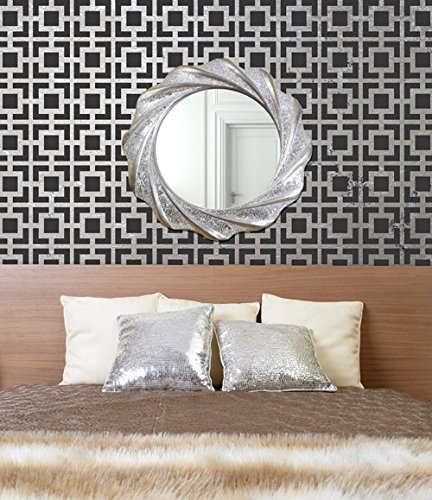 Royal Design Studio Stencils Hollywood Squares Wall Stencil - Art Deco Modern Geometric Wallpaper Pattern for Painting
