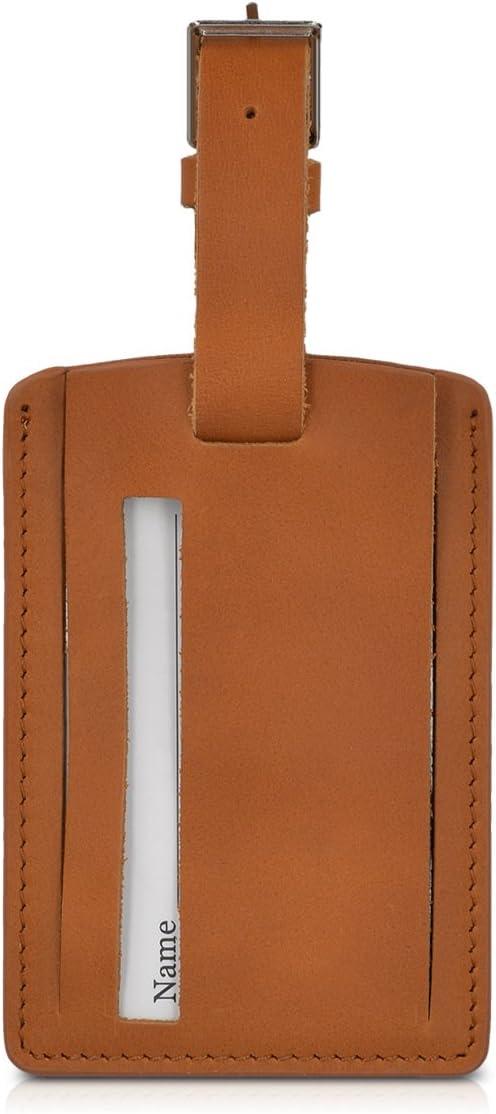 kalibri Etiqueta de identificación de Maletas - Distintivo Colgante para información Personal - Marcador de Equipaje con Datos personales - Marrón