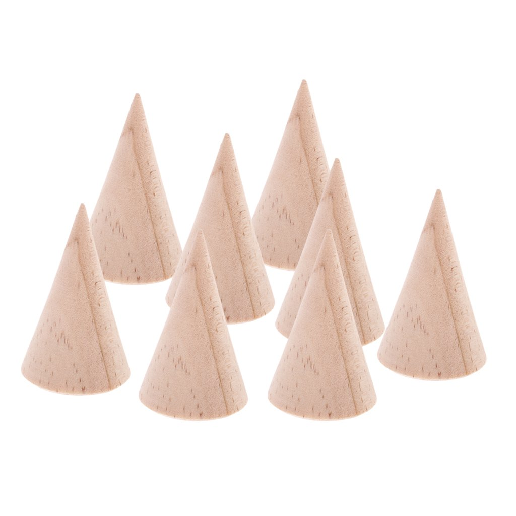 Jili Online 8 Pieces Unfinished Wood Display Ring Stand Crafts Unfinished 5cm DIY Jewelry by Jili Online (Image #4)