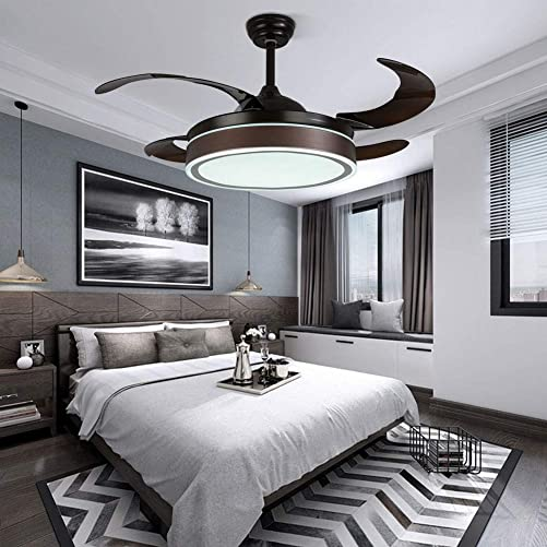 42 inch Modern Ceiling Fan 4 Invisible Retractable Blades Ceiling Fan