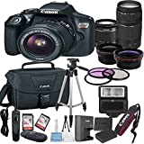 Canon EOS Rebel T6 Digital SLR Camera with EF-S 18-55mm Lens + 75-300mm Zoom Lens Bundle includes Camera, Lenses, Filters, Bag, Memory Cards, Tripod, Flash and More - International Version