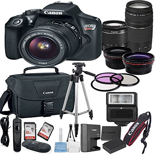 Canon EOS Rebel T6 Digital SLR Camera with EF-S 18-55mm Lens + 75-300mm Zoom Lens Bundle includes Camera, Lenses, Filters, Bag, Memory Cards, Tripod, Flash and More - International Version from ALS VARIETY