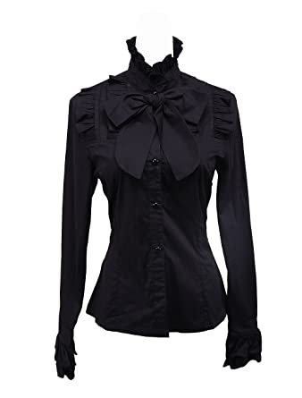 883ac446f0e246 Antaina Black Cotton Ruffle Lace Stand-up Collar Bow Tie Lolita Shirt Blouse