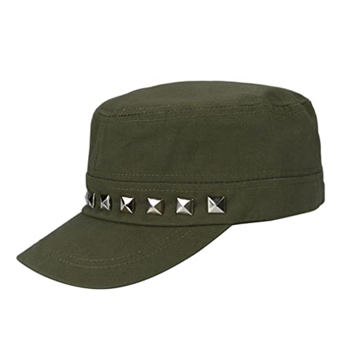 068da3ae80a Vertily Hat Casual Pure Color Army Newsboy Peaked Plain Adjustable Sports  Visor (Army Green)