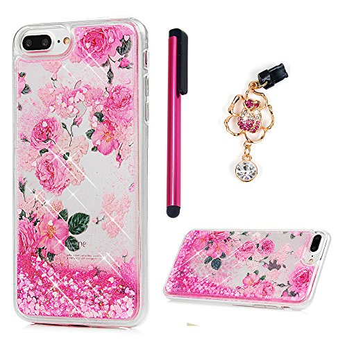 ZSTVIVA Case Cover Replacement iPhone 8 Plus, iPhone 7 Plus, Liquid Glitter Cover Quicksand Bling Pink Rose Flower Moving Love Heart Protective Dual Layer TPU Bumper Stylus Pen Dust Plug