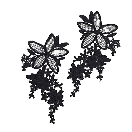 2pcs Embroidered Flower Applique Sew on Patches Cloth Craft DIY Sewing Black