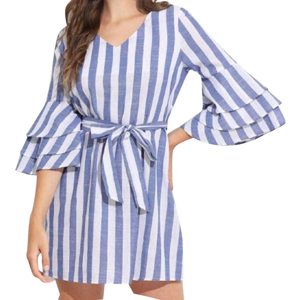 Womens Off The Shoulder Dress,Women Ladies Belt Stripe Cotton and Linen Round Neck Sleeve Mini Dress BU/3XL,Cocktail Dresses,Bule,3XL