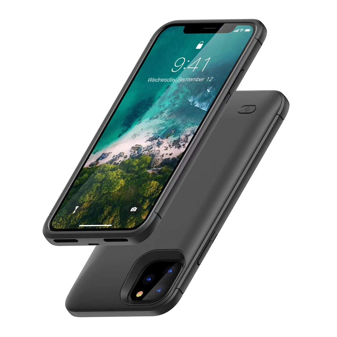 Battery Case for iPhone 11 Pro Max, HONTECH iPhone 11 Pro Max Battery Case, 6200mAh Portable Charger Extended Rechargeable Battery Pack Charging Protective Cover 6.5 inch 2019 (Black) by HONTECH
