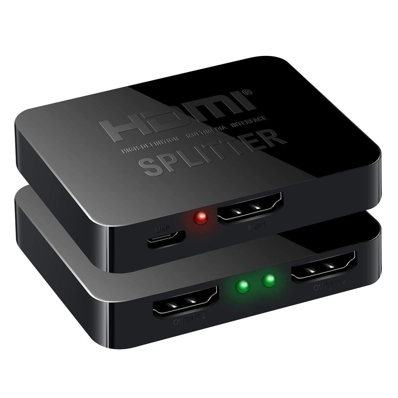 NewBEP HDMI Splitter 1 x 2, 1 Input 2 Output HDMI Amplifier Switcher Box  Hub Support 4KX2K 3D 2160p 1080p (HDMI Splitter 1 x 2)