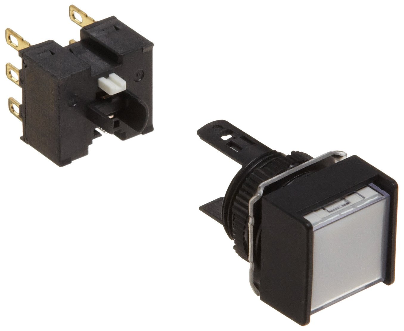 Omron A165L-AWM-24D-2 Two Way Guard Type Pushbutton and Switch, Solder Terminal, IP65 Oil-Resistant, 16mm Mounting Aperture, LED Lighted, Momentary Operation, Square, White, 24 VDC Rated Voltage, Double Pole Double Throw Contacts