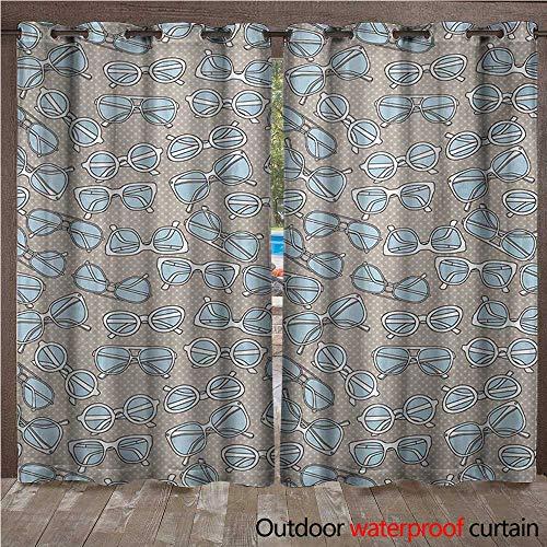 WilliamsDecor Retro 0utdoor Curtains for Patio Waterproof Vintage Hipster Glasses Pattern on Polka Dots Backdrop Eyesight Optic Design W72 x L84(183cm x 214cm)