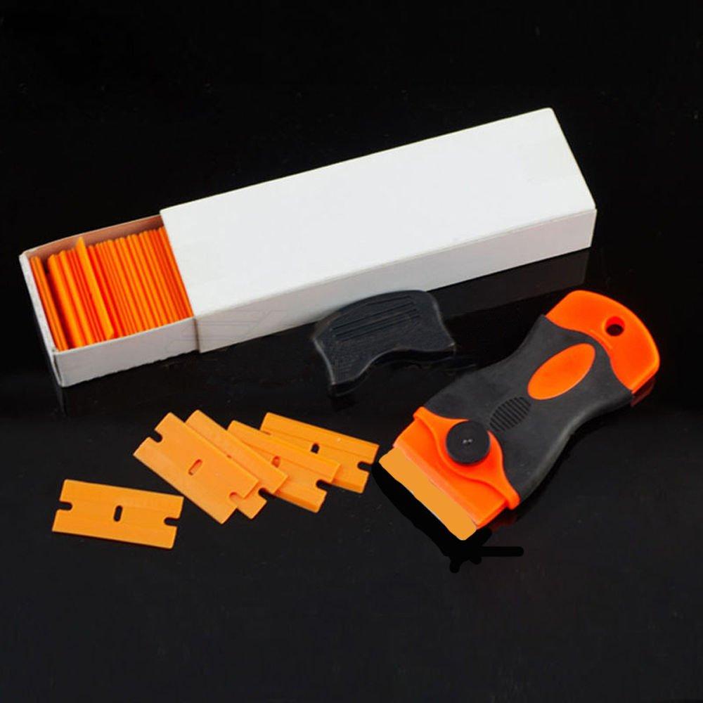 NEW 100 Plastic Razor Blades and Razor Scraper Double Edged Sticker Removal Tool USA