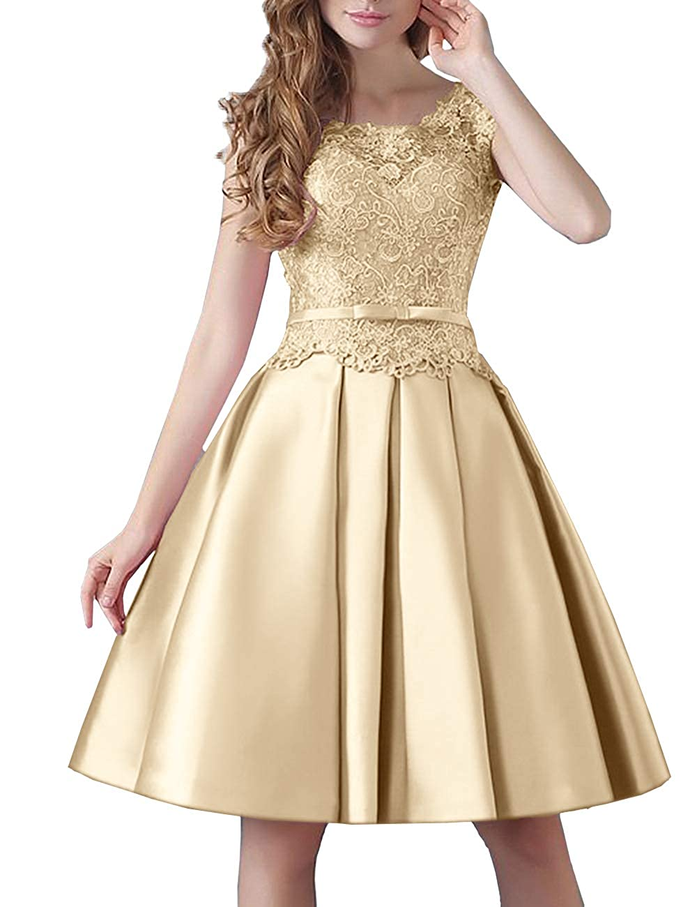Champagne Uther Prom KneeLength Lace Cocktail Dress Short Stain Homecoming Dresses for Girls
