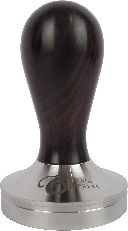 Kaffee-//Espresso-Tamper 51 mm Sockel aus mattem Edelstahl Schwarzholzgriff