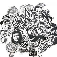 60PCS Black White Random Music Film Vinyl Skateboard Guitar Travel Case Sticker Lot Pack Decals