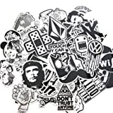 7-60pcs-black-white-random-music-film-vinyl-skateboard-guitar-travel-case-sticker-lot-pack-decals