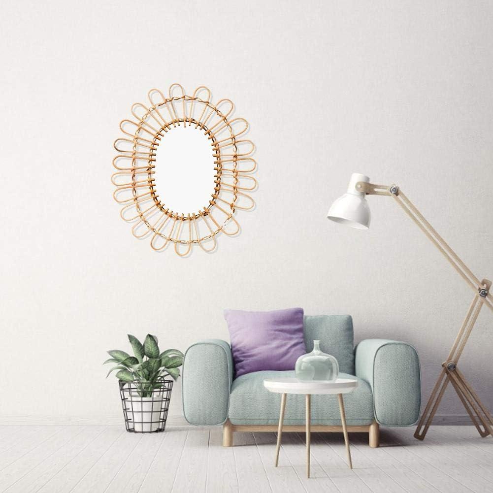 Miroir Mural Suspendu Miroir d/écoratif en rotin pour Miroir Mural pour Appartement Salon Chambre mysticall Miroir Mural Nordique en Osier