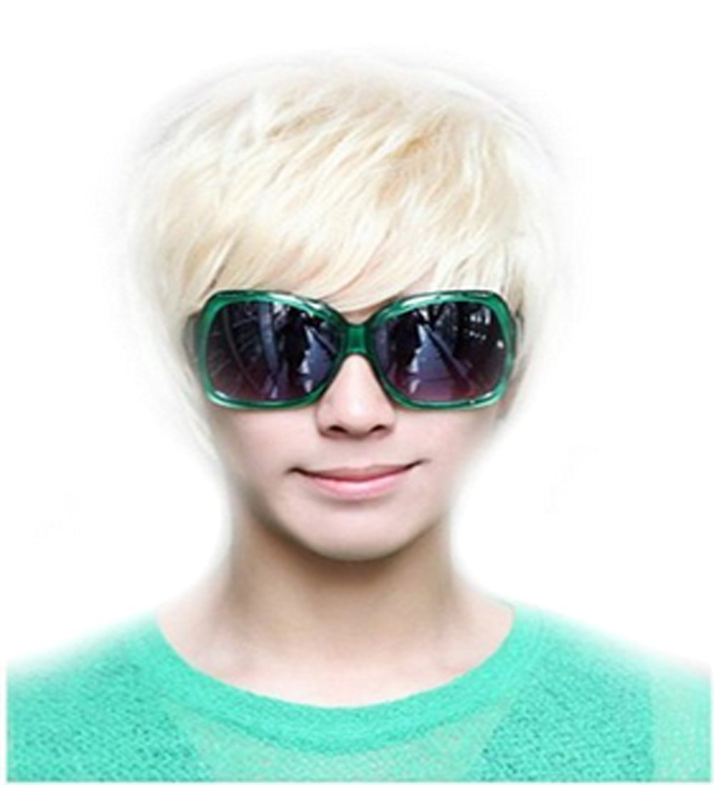 1PC Rice White Punk Style Cool Male Straight Wig Short Straight Wig erioctry
