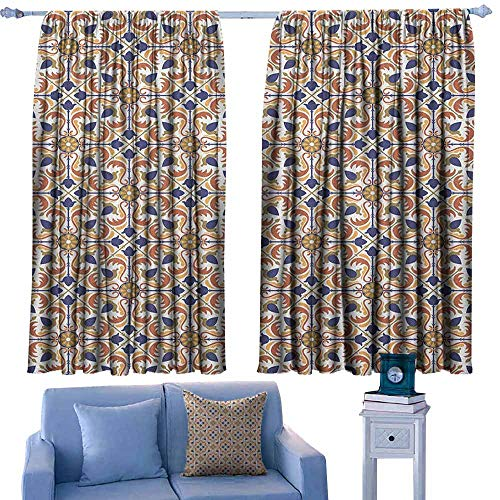 (GAAGS Balcony Curtains,Moroccan Traditional Mosaic Tile Motif with Old Fashioned Floral Arabesque Scroll Design,for Patio/Front Porch,W72x63L Inches Multicolor)