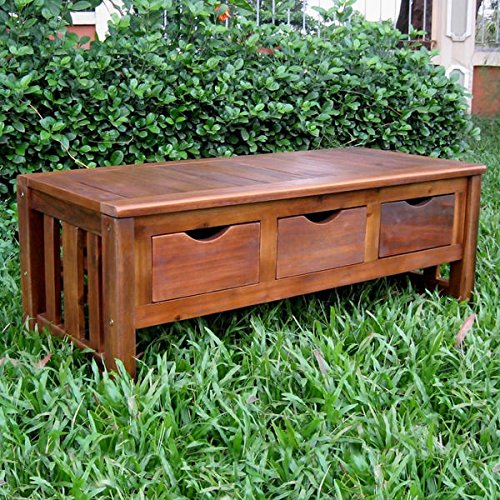 International Caravan Traditional Modern Design Acacia Hardwood 3-drawer Storage Bench by International Caravan