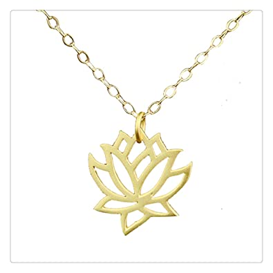 Amazoncom Ping Gold Lotus Necklace Gold Lotus Gold Blooming
