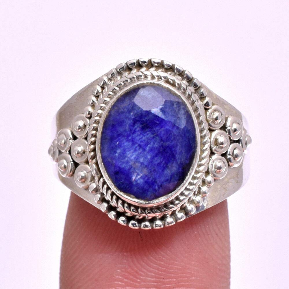 Classic Blue Sapphire Gemstone Jewelry 925 Sterling Silver Ring Size 7#KD-1780