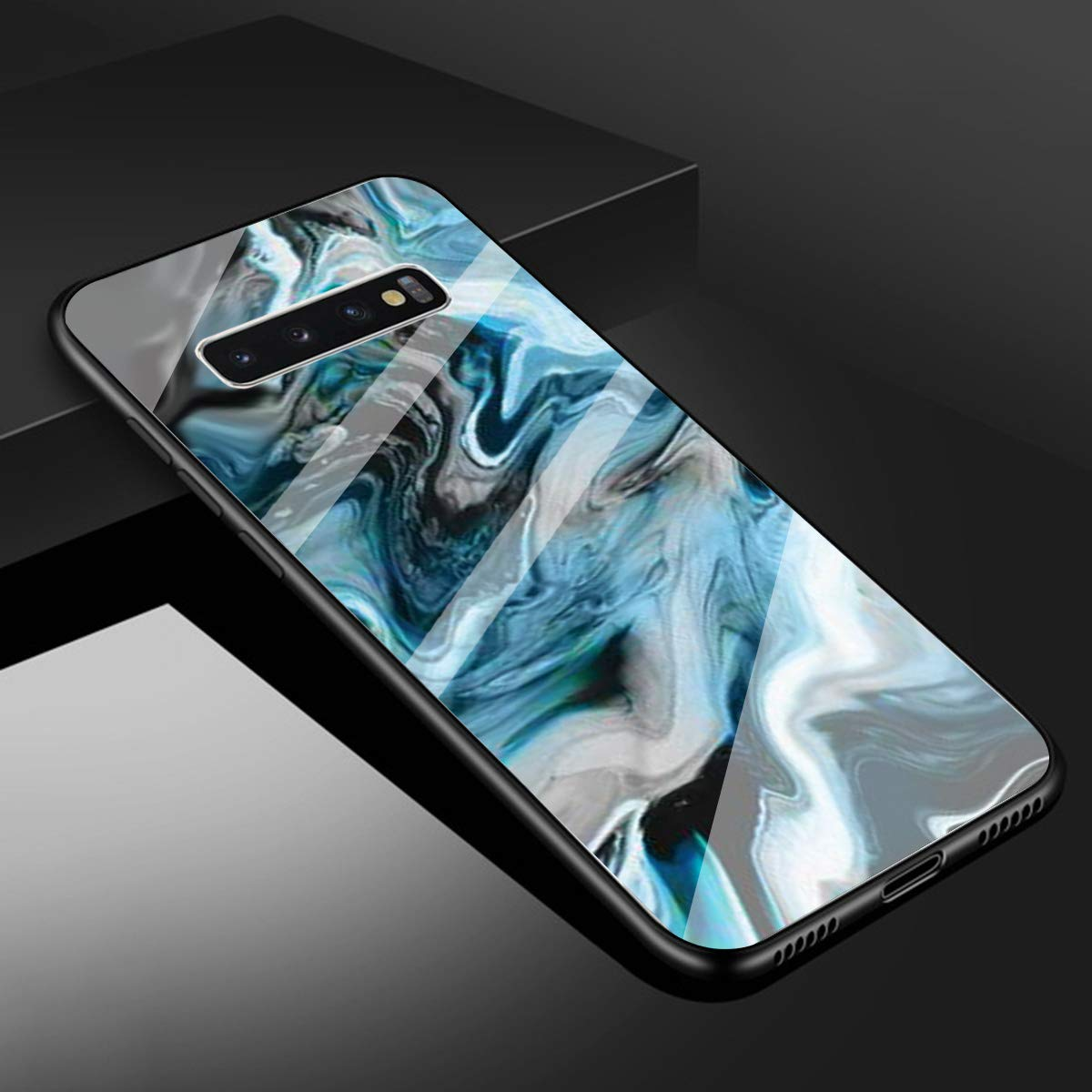 Funda Samsung S10 Plus Silicona Antigolpes Cubierta Protector Bumper Vidrio Templado Contraportada Carcasa Cover Negro EuCase Funda Glass Marble para Samsung S10 Plus