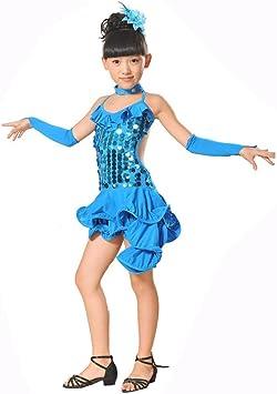 Kololy Vestito da Ballo Latino Bambina Ragazze Latino Danza Abito Lustrino Gonna Principessa Abiti Danza Costumi Bambini
