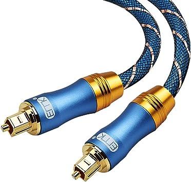 Cable de Audio Óptico Digital Toslink SPDIF Cable de Audio para Cine en Casa, Barra de Sonido, TV, PS4, Xbox One, Playstation, DVD (Metal Azul OD6.0-1.5M): Amazon.es: Electrónica