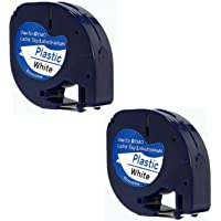 Printing Pleasure 2x Compatible 91201 Noir sur Blanc (12mm x 4m) Rubans Étiquettes Plastique pour Etiqueteuse Dymo LetraTag LT-100H, LT-100T, LT-110T, QX 50, XR, XM, 2000, Plus