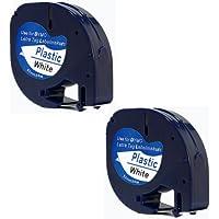 Printing Pleasure 2x Compatible Dymo LetraTag 91201 Noir sur Blanc (12mm x 4m) Rubans Étiquettes Plastique pour Etiqueteuse Dymo LetraTag LT-100H, LT-100T, LT-110T, QX 50, XR, XM, 2000, Plus