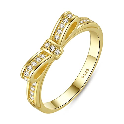 Everbling Sparkling Clear CZ 925 Sterling Silver Stackable Ring