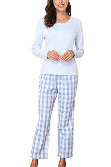 Giorzio Pajamas for Women Long Sleeve Sleepwear Ladies Soft Loungewear PJ  Set Blue S 1b0dcb169