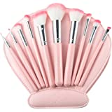 Makeup Brushes, USpicy Professional 10 Pieces Makeup Brush Set with Seashell Shaped PU Leather Case (Soft Synthetic Fiber for Uniform Application of Blush, Creams, Liquids, Contouring & Powders)-Pink