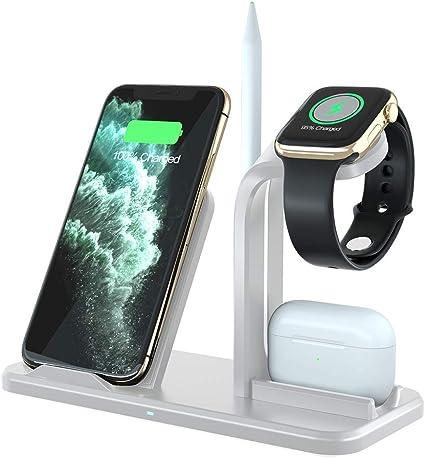 ADDANY Soporte de Carga para Apple Watch (Adaptador QC3.0) Cargador rápido inalámbrico inductivo para AirPods, iWatch, iPhone XS MAXXRX, Samsung