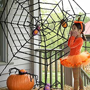 giant spider web and giant spiders halloween. Black Bedroom Furniture Sets. Home Design Ideas
