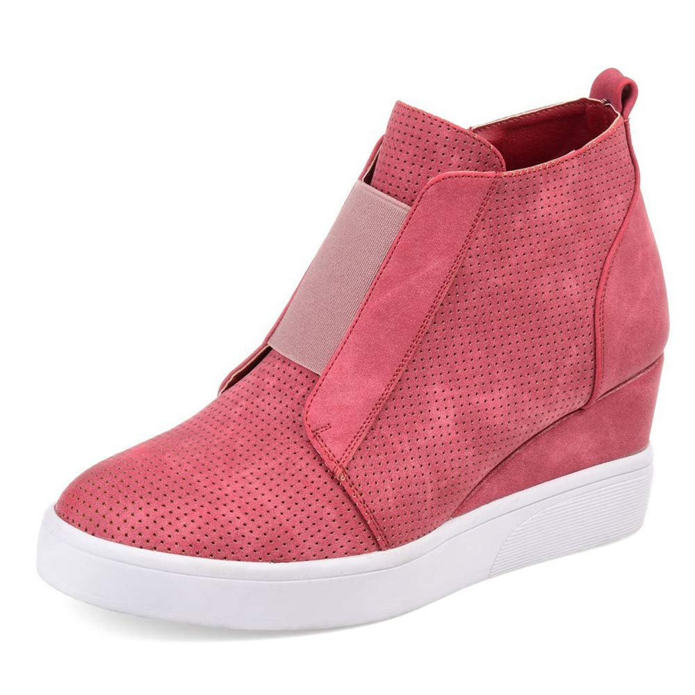 Nailyhome Womens Sneakers Wedges High Top Side Zipper Slip On Platform Sneakers YX2551