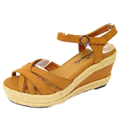 look good shoes sale outlet for sale well known New Look Girls Womens Tan Brown Hessian Wedge Platform ...