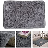 TTnight 40X60cm Fluffy Rugs Anti-Skid Shaggy Area Rug Carpet Floor Mat for Home Bedroom Bath Room Living Room Decor (Gray)